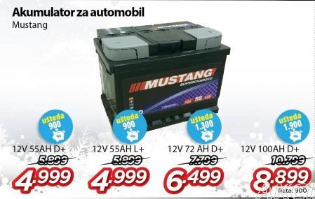 Akumulator 12V72Ah D+ Mustang