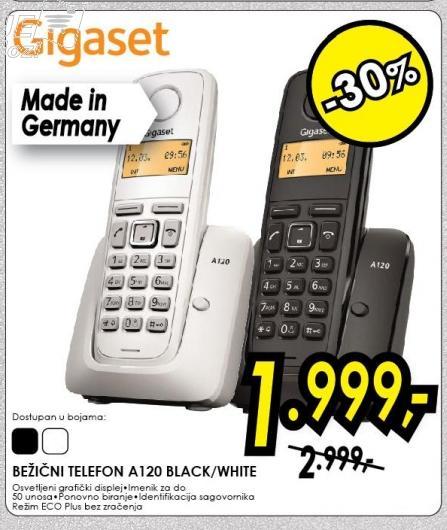 Bežični telefon A120 Blac/white Gigaset