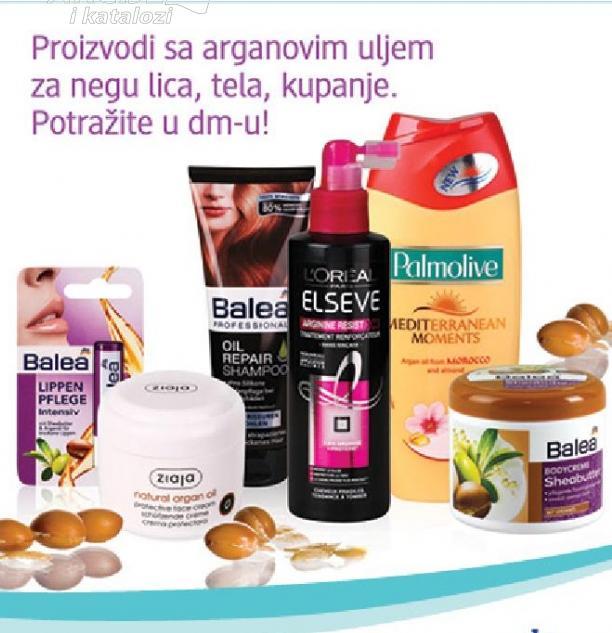 Proizvodi sa arganovim uljem za negu lica,tela,kupanje.Potražite u dm-u
