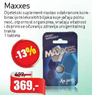Maxxes Dijetetski suplement, jača polnu moć, otpornost organizma, vraća vitalnost i doprinosi očuvanju zdravlja urogenitalnog trakta, tableta