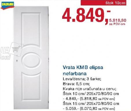 Vrata Kmb elipsa nefarbana štok 10cm