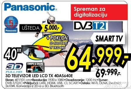 """Televizor LED 40"""" 3D Tx 40s640e"""