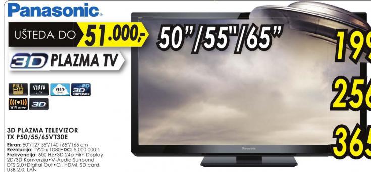 Televizor 3D plazma TX-P50VT30E