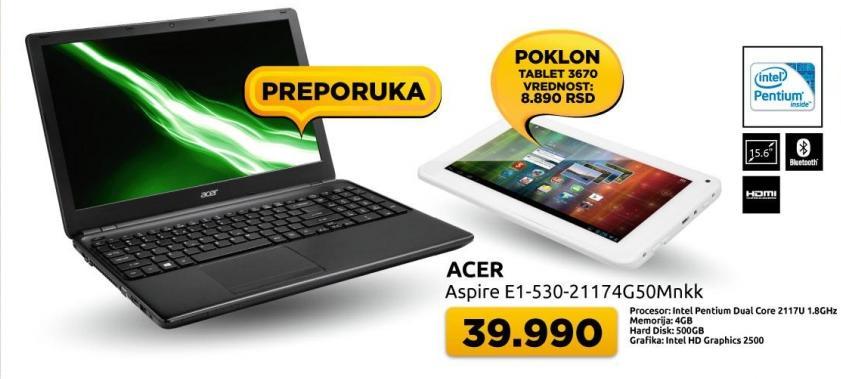 Laptop Aspire E1-530-21174G50Mnkk + poklon Tablet 3670