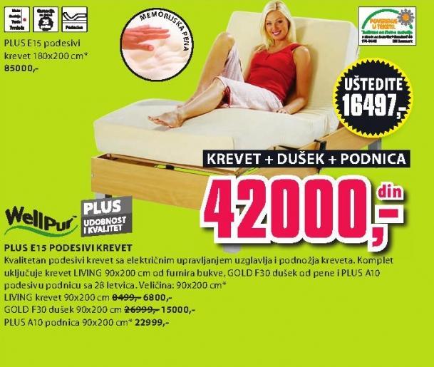 Podesivi krevet Plus E15 sa dušekom i podnicom