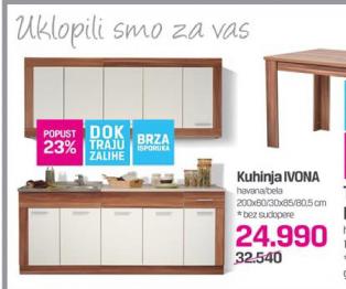 Kuhinja Ivona, havana/bela