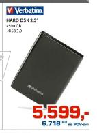 Hard disk Verbatim 500GB