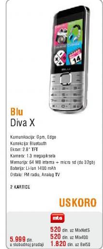 Mobilni telefon Blu, Diva X