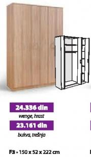 Garderober F3 wenge, hrast