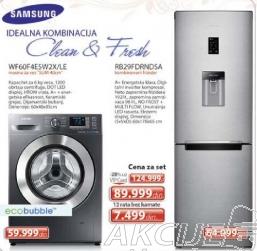 Set kombinovani frižider RB29FDRNDSA + Samsung mašina za veš WF60F4ESW2X/LE