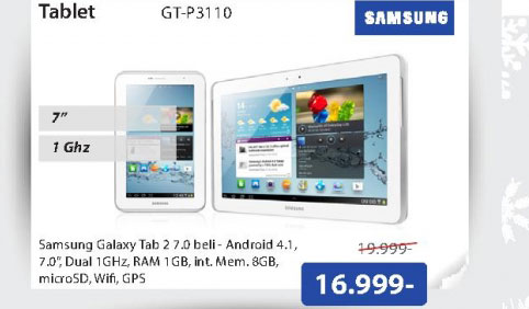 "Tablet Galaxy Tab 2, 7.0"", Android 4 GT-P3110ZWASMO"