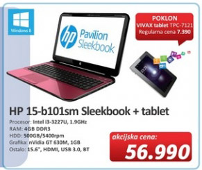 Laptop Sleekbook 15-b101sm + pokon tablet Vivax TPC7121