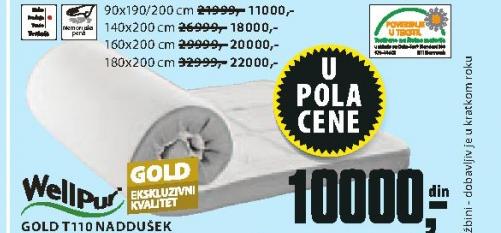Naddušek Gold T110, 160x200cm