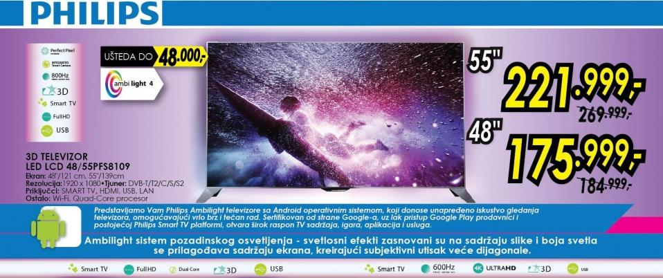 """Telvizor LED 48"""" 3D 48pfs8109"""