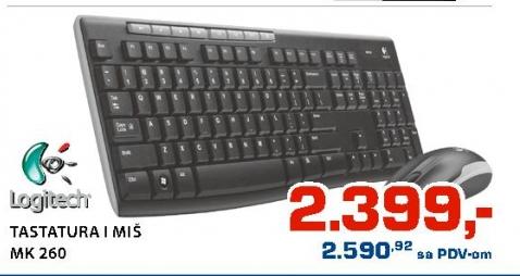 Komplet tastatura i miš bežični Logitech MK260