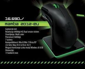 Miš RAZER Mamba 2012 Elite Wireless Gaming Mouse - RZ01-00120400-R3G1
