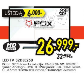 Televizor LED LCD 32DLE250