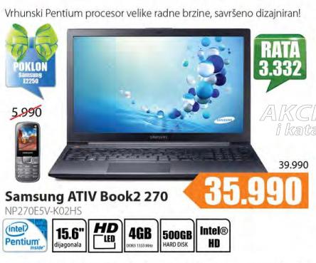 Laptop Samsung  Ativ Book2 270  NP270E5V-KO2HS+ Poklon Samsung mobilni telefon E2250