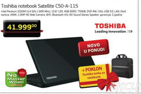 Notebook toshiba Satellite C50-A-115+Poklon Toshiba torba za notebook