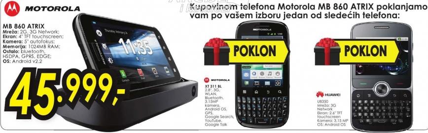 Motorola mobilni telefon MB860 + U8350 ili XT311 FIRE BL