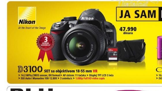 Digitalni SLR fotoaparat D3100 SET 18-55VR