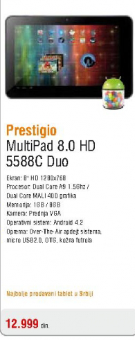 Tablet Multipad 8.0 HD 5588C Duo