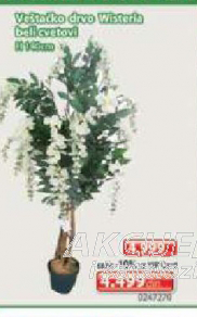 Veštačko drvo Wisteria beli cvetovi