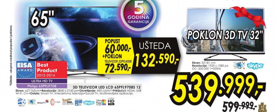 Televizor 3D LED LCD 65PFL9708S/12