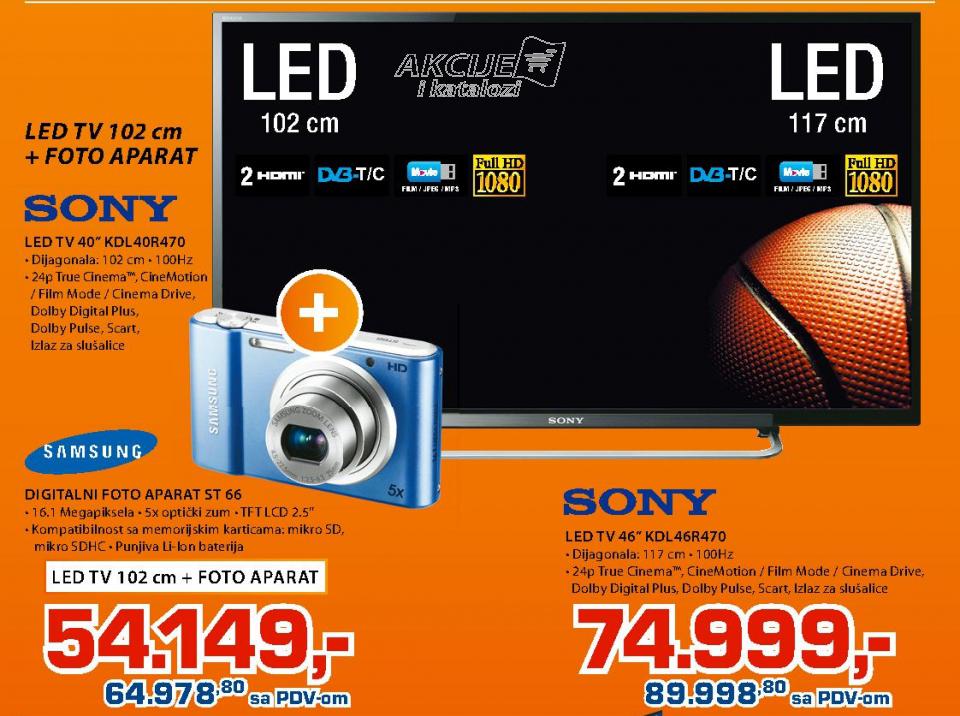 LED TV Sony KDL40R470 +Digitalni fotoaparat  Samsung ST66