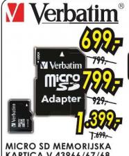 Mikro Sd memorijska kartica V43967/ 8Gb, VERBATIM