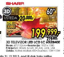 Televizor 3D LED LCD LC-60LE840E