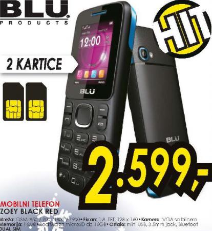 Mobilni telefon ZOEY BLACK RED. BLU