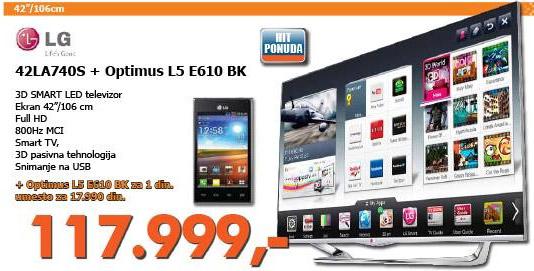 3D LED LCD 42LA740S Televizor + poklon Optimus L5 E610 BK telefon