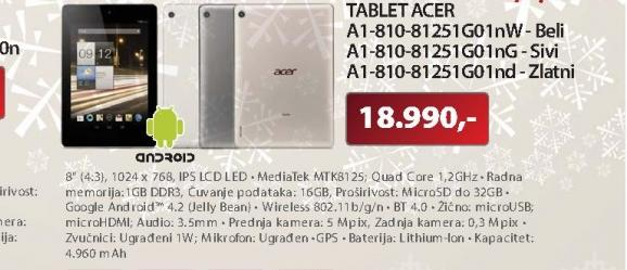 "Tablet 8""Iconia Tab A1-810-81251G01nd NTL2MEE003"