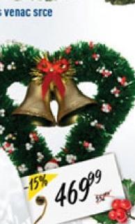 Novogodišnji ukras venac srce