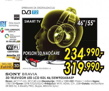 Televizor 3D LED LCD KDL-46W905ABAEP