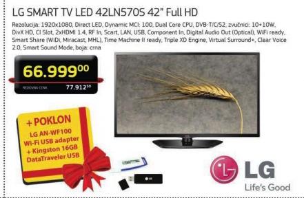 Televizor LG 42'' LED SMART 42LN570S +Poklon LG AN-WF100 WiFi USB adapter+USB Kingston 16GB