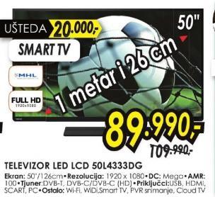 """Televizor LED 50"""" 50l4333dg"""