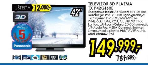 3D televizor plazma TX-P42GT60E
