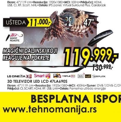 Televizor LED LCD 47LA690S