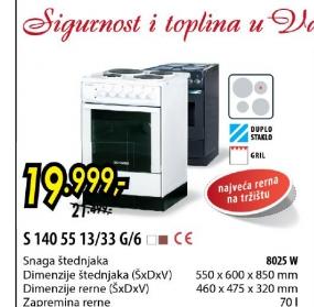 Šporet S 140 55 13/33 g6