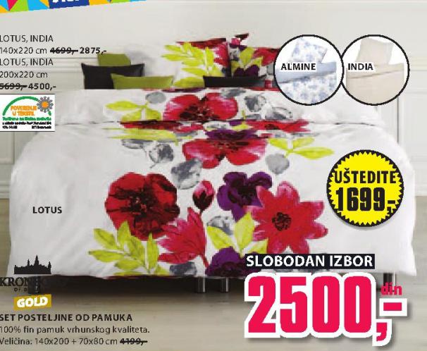Set posteljine od pamuka Lotus 200x220cm