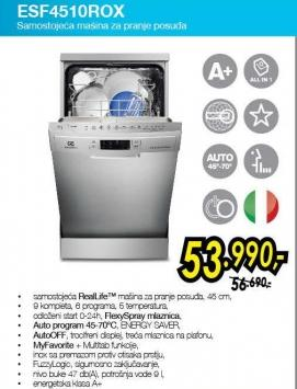 Mašina za pranje posuđa Esf4510rox