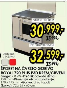 Šporet na čvrsto gorivo Royal 720 plus