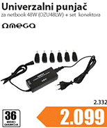 Punjac za netbook univerzalni AC-DC 48W + set konektora (OZU48LW)