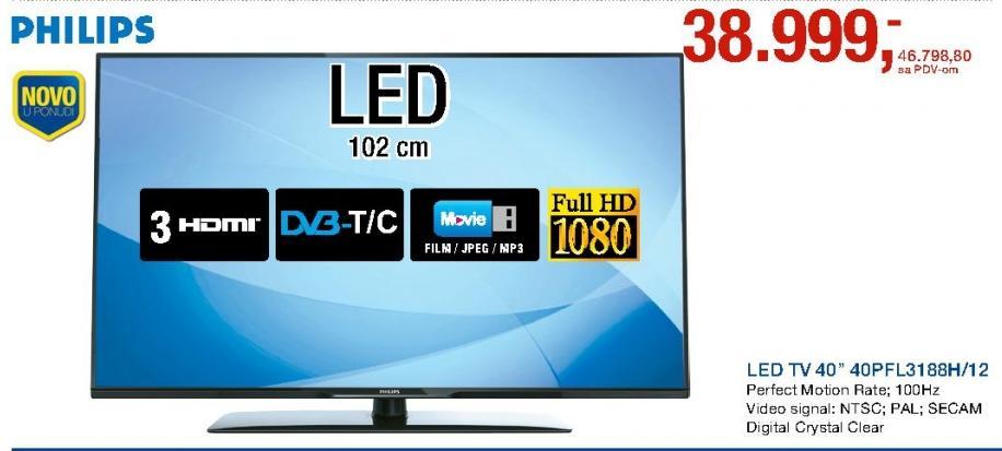 "Televizor LED 40"" 40PFL3188H/12"