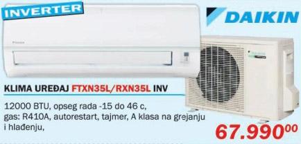 Klima uređaj Daikin Ftxn35l/Rxn35l Inverter