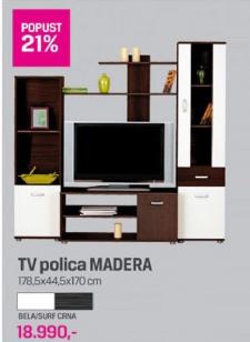 TV polica Madera, bela/surf crna