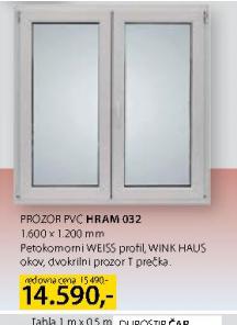 Prozor dvokrilni, PVC, Hram 032