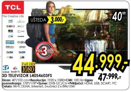 """Televizor LED 40"""" 3D L40s4603fs"""